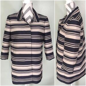 ANN TAYLOR Tan Blue Striped Long Coat Jacket Sz M
